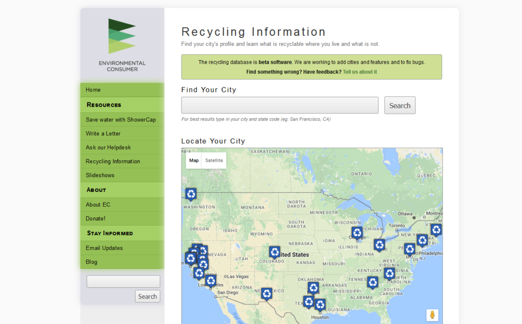 Recycling Database Screenshot