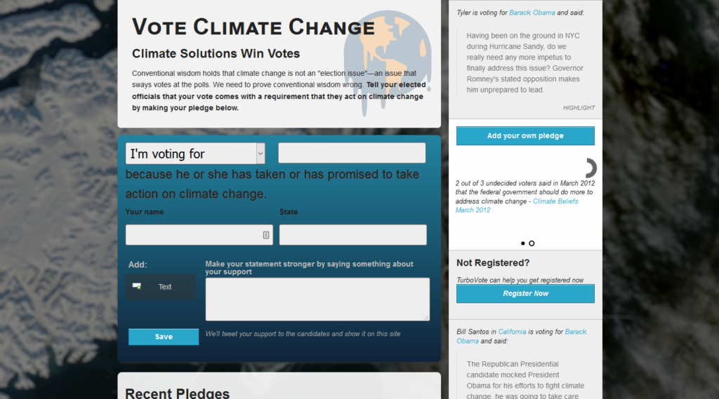 Vote Climate Change Screenshot